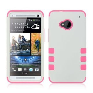 Insten White/ Pink Hard PC/ Silicone Dual Layer Hybrid Rubberized Matte Case Cover For HTC One M7