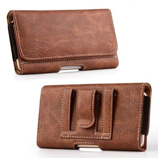 Insten Brown Leatherette Case Cover with Belt Clip/ Wallet Flap Pouch For Samsung Galaxy Note