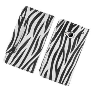Insten Black/ White Zebra Leatherette Case Cover with Wallet Flap Pouch For HTC One M7