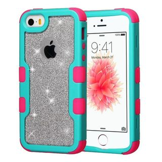 Insten Hard PC/ Silicone Dual Layer Hybrid Glitter Case Cover For Apple iPhone 5/ 5S/ SE