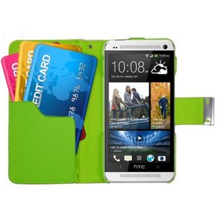 Insten Leatherette Case Cover with Wallet Flap Pouch For HTC One M7