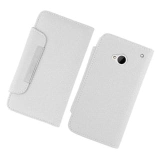Insten White Leatherette Case Cover with Wallet Flap Pouch For HTC One M7