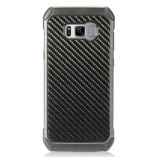 Insten Black Carbon Fiber Hard Snap-on Dual Layer Hybrid Case Cover For Samsung Galaxy S8