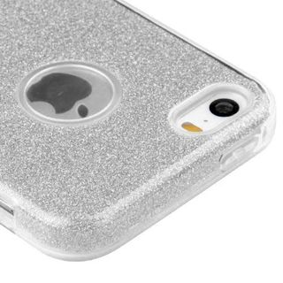Insten Silver Hard Snap-on Dual Layer Hybrid Glitter Case Cover For Apple iPhone 5/ 5S/ SE
