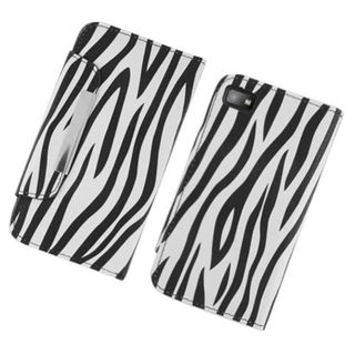 Insten Black/ White Zebra Leatherette Case Cover with Wallet Flap Pouch For BlackBerry Z10