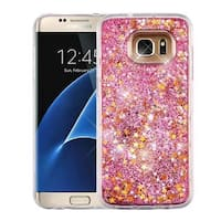 Insten Pink Stars Quicksand Hard Snap-on Glitter Case Cover For Samsung Galaxy S7 Edge