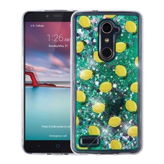 Insten Green/ Yellow Lemon Quicksand Hard Snap-on Glitter Case Cover For ZTE Zmax Pro