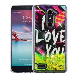 Insten Black/ Green I Love You Quicksand Hard Snap-on Glitter Case Cover For ZTE Zmax Pro