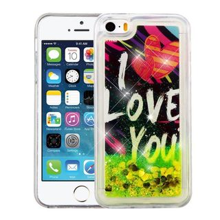 Insten Black/ Green I Love You Quicksand Hard Snap-on Glitter Case Cover For Apple iPhone 5/ 5S/ SE