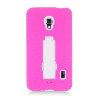 Insten Hot Pink/ White Symbiosis Soft Silicone/ PC Rubber Case Cover with Stand For LG Optimus F6 MS500