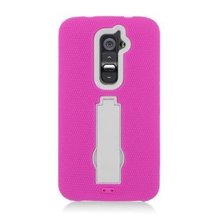 Insten Hot Pink/ White Symbiosis Soft Silicone/ PC Rubber Case Cover with Stand For LG G2 D801 T-Mobile/ G2 LS980 Sprint