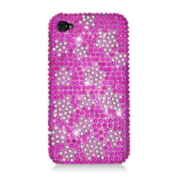 Insten Hot Pink/ Silver Stars Hard Snap-on Diamond Bling Case Cover For Apple iPhone 4/ 4S