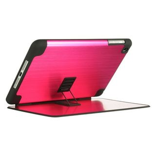 Insten Hot Pink/ Black Hard Snap-on Rubberized Matte Case Cover with Stand For Apple iPad Mini 1