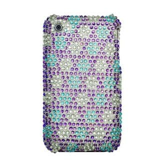 Insten Purple/ Blue Snowflake Hard Snap-on Diamond Bling Case Cover For Apple iPhone 3G/ 3GS