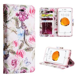 Insten White/ Purple Rose Aroma Leatherette Case Lanyard with Stand/ Wallet Flap Pouch/ Photo Display For Apple iPhone 6/ 6s/ 7
