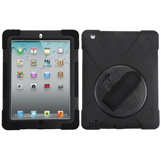 Insten Black Wristband Hard Snap-on Rubberized Matte Case Cover with Stand For Apple iPad 2/ 3/ 4 with Retina display