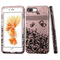 Insten Rose Gold/ Black Lace Flowers Verge Hard PC/ Silicone Dual Layer Hybrid Case Cover For Apple iPhone 7 Plus