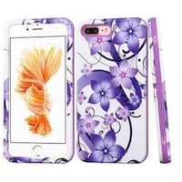 Insten Purple/ White Hibiscus Flower Romance Verge Hard PC/ Silicone Dual Layer Hybrid Case Cover For Apple iPhone 7 Plus