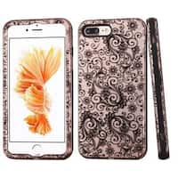 Insten Black Four-leaf Clover Verge Hard PC/ Silicone Dual Layer Hybrid Rubberized Matte Case Cover For Apple iPhone 7 Plus