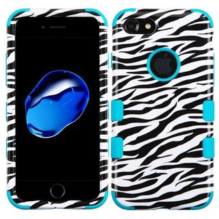 Insten Black/ Teal Zebra Tuff Hard PC/ Silicone Dual Layer Hybrid Rubberized Matte Case Cover For Apple iPhone 7