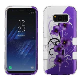 Insten Purple/ White Twilight Petunias Tuff Hard PC/ Silicone Dual Layer Hybrid Rubberized Matte Case For Samsung Galaxy S8