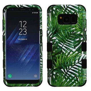 Insten Green Tropical Palms Tuff Hard PC/ Silicone Dual Layer Hybrid Rubberized Matte Case Cover For Samsung Galaxy S8