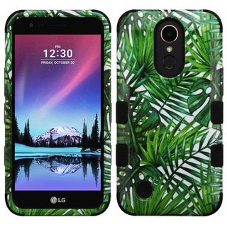 Insten Green/ Black Tropical Palms Tuff Hard PC/ Silicone Dual Layer Hybrid Case Cover For LG Harmony/ K10 (2017)/ K20 Plus