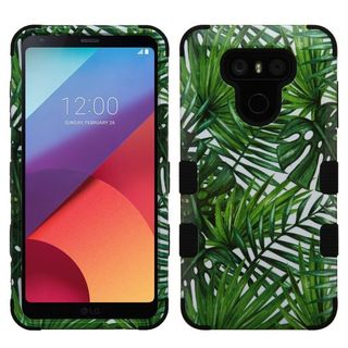 Insten Green/ Black Tropical Palms Tuff Hard PC/ Silicone Dual Layer Hybrid Rubberized Matte Case Cover For LG G6