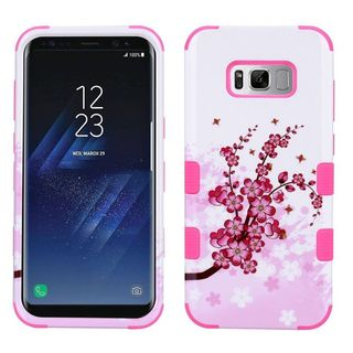 Insten White/ Pink Spring Flowers Tuff Hard PC/ Silicone Dual Layer Hybrid Rubberized Matte Case Cover For Samsung Galaxy S8