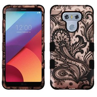 Insten Rose Gold/ Black Phoenix Flower Tuff Hard PC/ Silicone Dual Layer Hybrid Rubberized Matte Case Cover For LG G6