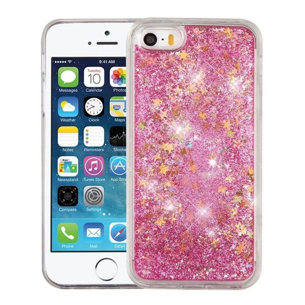 Insten Pink Stars Hard Snap-on Glitter Case Cover For Apple iPhone 5/ 5S/ SE