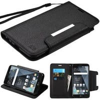 Insten Black Leatherette Case Cover Lanyard with Stand/ Wallet Flap Pouch For LG Stylo 3 LS777/ K10 Pro/ Stylus 3