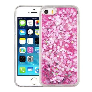 Insten Pink Hearts Hard Snap-on Glitter Case Cover For Apple iPhone 5/ 5S/ SE
