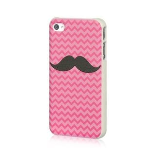 Insten Pink/ Black Mustache TPU Rubber Candy Skin Case Cover For Apple iPhone 4