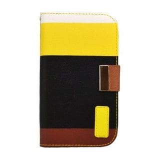 Insten Black/ Yellow Multicolor Leatherette Case Cover with Wallet Flap Pouch For Samsung Galaxy S3 GT-i9300