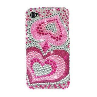 Insten Hot Pink/ Silver Hearts Hard Snap-on Rhinestone Bling Case Cover For Apple iPhone 4/ 4S