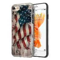 Insten White/ Red Faded Glory TPU Rubber Candy Skin Case Cover For Apple iPhone 7