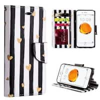 Insten Black/ White Chic Hearts Leatherette Case Lanyard with Stand/ Wallet Flap Pouch/ Photo Display For Apple iPhone 7 Plus