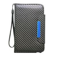 Insten Black Carbon Fiber Leatherette Case Cover Lanyard with Wallet Flap Pouch For Samsung Galaxy Note II