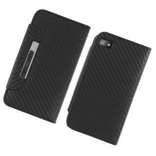 Insten Black Carbon Fiber Leatherette Case Cover with Wallet Flap Pouch For BlackBerry Z10