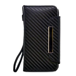 Insten Black Carbon Fiber Leatherette Case Cover Lanyard with Wallet Flap Pouch For Apple iPhone 5/ 5S