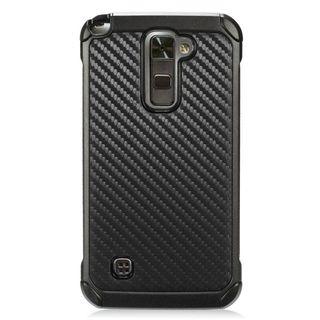 Insten Black Carbon Fiber Hard Snap-on Dual Layer Hybrid Case Cover For LG Stylo 2 Plus MS550