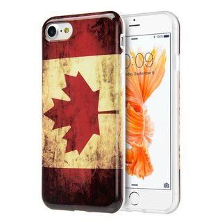 Insten Red/ White Canada National Flag TPU Rubber Candy Skin Case Cover For Apple iPhone 7
