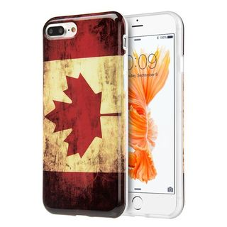 Insten Red/ White Canada National Flag TPU Rubber Candy Skin Case Cover For Apple iPhone 7 Plus