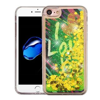 Insten Yellow/ Green I Love You Quicksand Hard Snap-on Glitter Case Cover For Apple iPhone 7