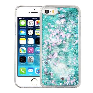 Insten Green Hearts Quicksand Hard Snap-on Glitter Case Cover For Apple iPhone 5/ 5S/ SE