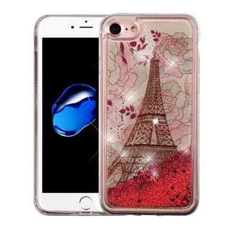 Insten Red Eiffel Tower Quicksand Hard Snap-on Glitter Case Cover For Apple iPhone 7