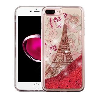 Insten Red Eiffel Tower Quicksand Hard Snap-on Glitter Case Cover For Apple iPhone 7 Plus