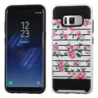 Insten Pink/ White Fresh Roses Hard Snap-on Dual Layer Hybrid Case Cover For Samsung Galaxy S8