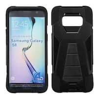 Insten Black Hard PC/ Silicone Dual Layer Hybrid Case Cover with Stand For Samsung Galaxy S8
